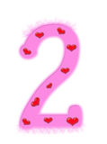 Valentine's day numeral - 2. Valentine's day numeral isolated on a white background - 2 Royalty Free Stock Image