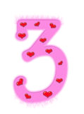 Valentine's day numeral - 3 Stock Photo