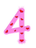 Valentine's day numeral - 4 Royalty Free Stock Photo
