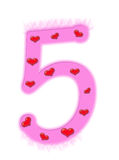Valentine's day numeral - 5 Stock Image