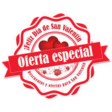 Valentine`s Day offer-  Spanish sticker / label Stock Photography