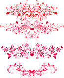 Valentine's day ornaments. Four valentine's day ornaments with heart-shapes Stock Images