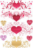 Valentine's day ornaments. With heart-shapes Stock Images
