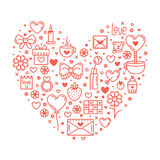 Valentine's Day Outline Icons Stock Photography