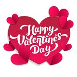 Valentine s Day paper cut card. 14th of february. Happy Valentines Day Lettering with pink cut paper hearts on white. Background. Vector illustration Royalty Free Stock Photos