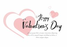 Valentine`s Day party background with pink hearts. Vector Illustration Royalty Free Stock Image