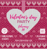 Valentine`s Day party flyer. Beautiful backdrop with red heart and bow on tape. Stock Photography