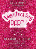 Valentine's Day Party flyer pink Royalty Free Stock Images
