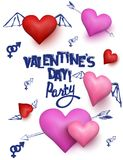 Valentine`s Day  party invitation card with  hearts and doodles. Vector illustration Royalty Free Stock Photos