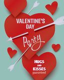 Valentine`s Day  party invitation card with  paper hearts and arrows. Vector illustration Royalty Free Stock Photography