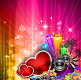 Valentine's Day party invitation flyer background vector illustration