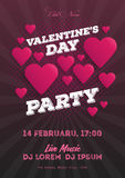 Valentine`s Day party invitation flyer. The template for the club, musical evenings. Speech by musicians, DJs. Night festive party. Background with hearts Stock Photo