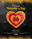 Valentine's Day party invitation. Red and gold Stock Image