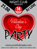 Valentine`s day party invitation template background with heart. Royalty Free Stock Photography