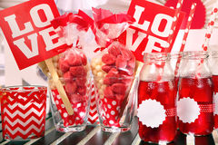 Valentine's Day party with love inscription Royalty Free Stock Photography