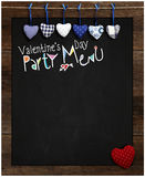 Valentine's Day Party Menu Chalkboard Blue and Red Gingham Love Royalty Free Stock Photography