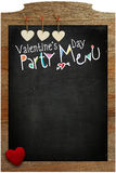 Valentine's Day Party Menu, hearts hanging on wooden texture bac Royalty Free Stock Photography