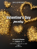 Valentine`s day party poster. Realistic luxury golden hearts and glowing lights. Black color background. Vector illustration stock illustration
