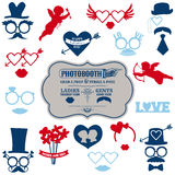 Valentines Day Party set. Photobooth props - glasses, hats, lips, mustaches, masks - in Royalty Free Stock Photos