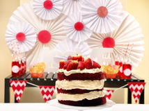 Valentine's Day party table with red velvet cake Stock Image