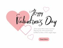 Valentine`s Day party web banner, background with pink hearts. Vector Illustration Stock Image