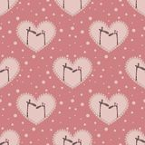 Valentine`s day pattern. With two  affectionate giraffes Royalty Free Stock Photos