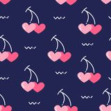 Valentine`s day pattern with cherry in the form of hearts. Vector background royalty free illustration