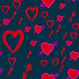 Valentine`s day pattern with cupid`s arrows in hearts. Vector illustration concept stupid cupid hunting. Cupid Hunt. Valentine`s day pattern with cupid`s arrows Stock Photos