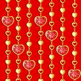 Valentine`s day pattern with diamond hearts. And golden chains on red background Royalty Free Illustration