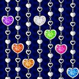 Valentine`s day pattern with diamond hearts. And silver chains on red background Royalty Free Illustration