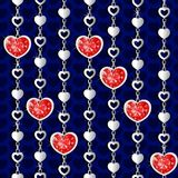 Valentine`s day pattern with diamond hearts. And silver chains on red background Vector Illustration