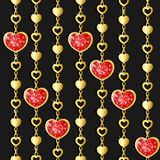 Valentine`s day pattern with diamond hearts. And golden chains on black background Vector Illustration