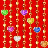 Valentine`s day pattern with diamond hearts. And golden chains on red background Stock Illustration