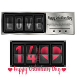 Valentine`s Day pattern with heart shapes and Flip board clock changing Love letter. Card of Valentine`s Day pattern with heart shapes and Flip board clock Royalty Free Stock Photos