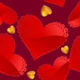Valentine's day pattern with red and gold hearts Stock Image