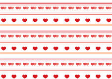 Valentine`s day pattern. With red lines and red hearts Royalty Free Stock Images