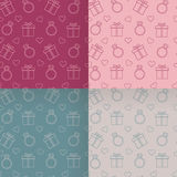 Valentine`s Day patterns set. Royalty Free Stock Images