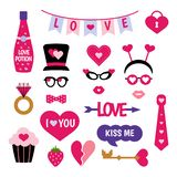 Valentine`s Day photo booth props photobooth set vector illustration