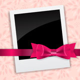 Valentine`s Day Photo Card with Bow and Ribbon Stock Photography