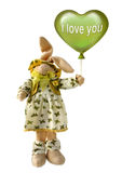 Valentine's Day. Photo collage for Valentine's Day. A loving doe-hare toy in shades of green. Date January 21, 2016 Stock Photos