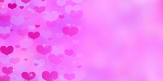 Valentine`s Day pink background with hearts. Valentine`s Day pink background with hearts and sparkles stock illustration