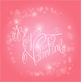 Valentine's day pink background with lights - holiday love card Stock Image