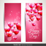Valentine's Day pink banners Royalty Free Stock Photo