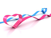 Valentine's Day pink and blue heart silk vintage ribbons Royalty Free Stock Image