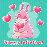 Valentine`s day. Pink Bunny holding a heart in his paws. Vector illustration Royalty Free Stock Images
