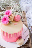 Valentine`s Day pink cake Stock Images