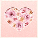 Valentine's day pink card with roses. Vector eps-10. Stock Photography