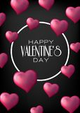 Valentine`s Day with pink 3d hearts on black background. Vector illustration. Cute love valentine banner or greeting card vector illustration