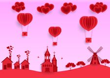 Valentine`s day, pink greeting card background, paper cut, realistic paper flying balloons in the sky, trees and clouds. stock illustration
