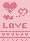Valentine's Day Pink knitted background Stock Photo